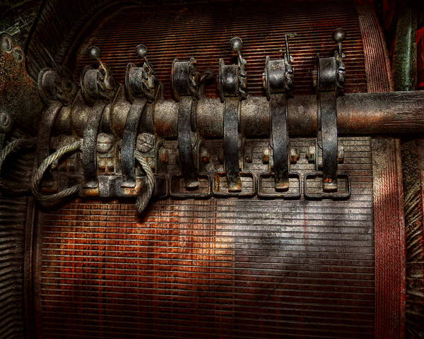 Steampunk Poster featuring the photograph Steampunk - Electrical - Motorized by Mike Savad