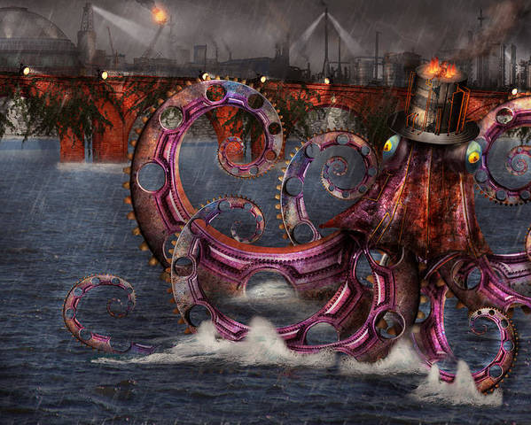 Savad Poster featuring the digital art Steampunk - Enteroctopus Magnificus Roboticus by Mike Savad