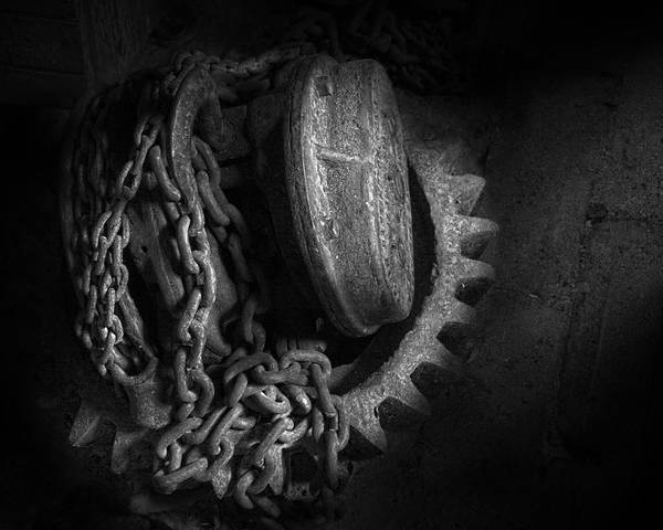 Steampunk Poster featuring the photograph Steampunk - Gear - Hoist And Chain by Mike Savad