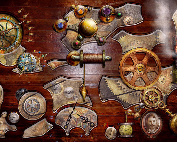 Savad Poster featuring the photograph Steampunk - Gears - Reverse Engineering by Mike Savad