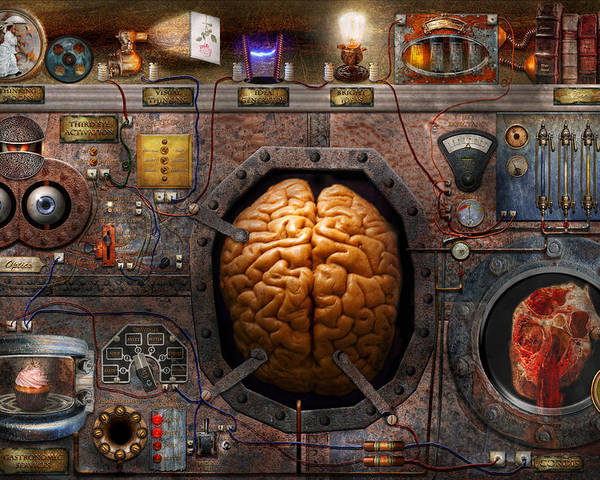 Brain Poster featuring the photograph Steampunk - Information Overload by Mike Savad
