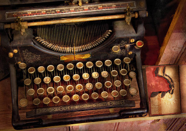 Hdr Poster featuring the photograph Steampunk - Just An Ordinary Typewriter by Mike Savad