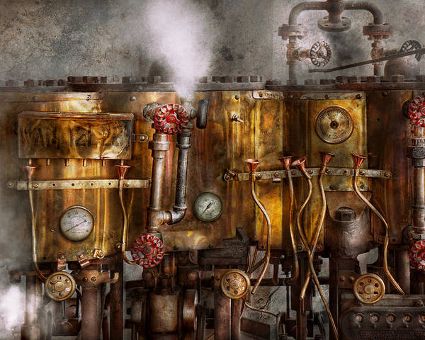 Steampunk Poster featuring the photograph Steampunk - Plumbing - Distilation Apparatus by Mike Savad
