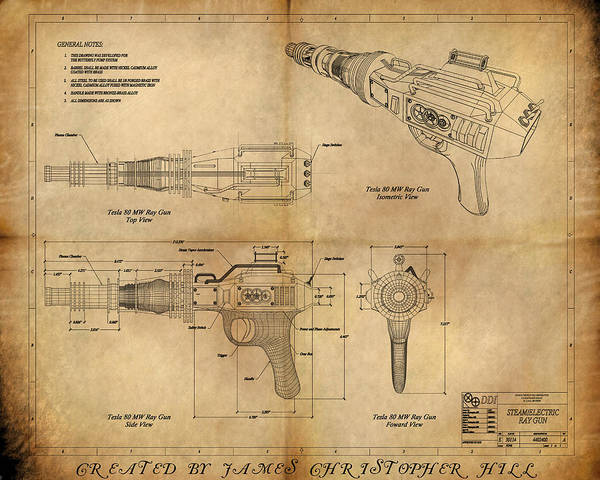 Steampunk; Gears; Housing; Cogs; Machinery; Lathe; Columns; Brass; Copper; Gold; Ratio; Rotation; Elegant; Forge; Industry; Plasma Poster featuring the painting Steampunk Raygun by James Christopher Hill