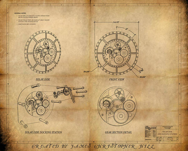 Steampunk; Gears; Housing; Cogs; Machinery; Lathe; Columns; Brass; Copper; Gold; Ratio; Rotation; Elegant; Forge; Industry; Clockwork Poster featuring the painting Steampunk Solar Disk by James Christopher Hill