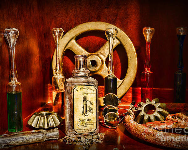Paul Ward Poster featuring the photograph Steampunk - Spare Gears - Mechanical by Paul Ward