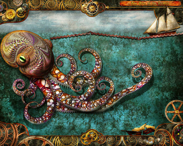 Self Poster featuring the digital art Steampunk - The Tale Of The Kraken by Mike Savad