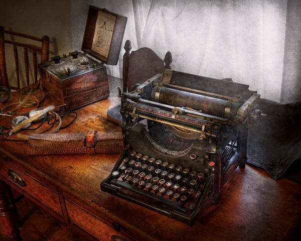 Steampunk Poster featuring the photograph Steampunk - Typewriter - The Secret Messenger by Mike Savad