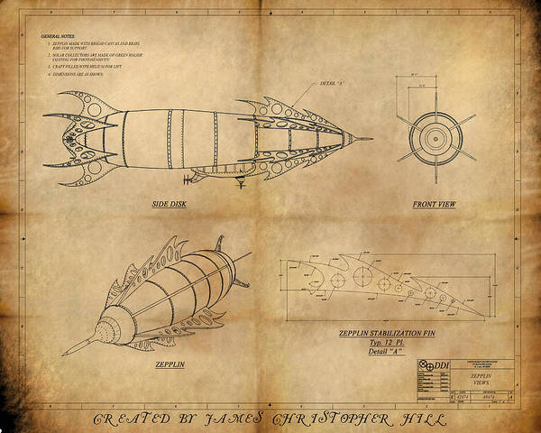 Steampunk; Gears; Housing; Cogs; Machinery; Lathe; Columns; Brass; Copper; Gold; Ratio; Rotation; Elegant; Forge; Industry Poster featuring the painting Steampunk Zepplin by James Christopher Hill