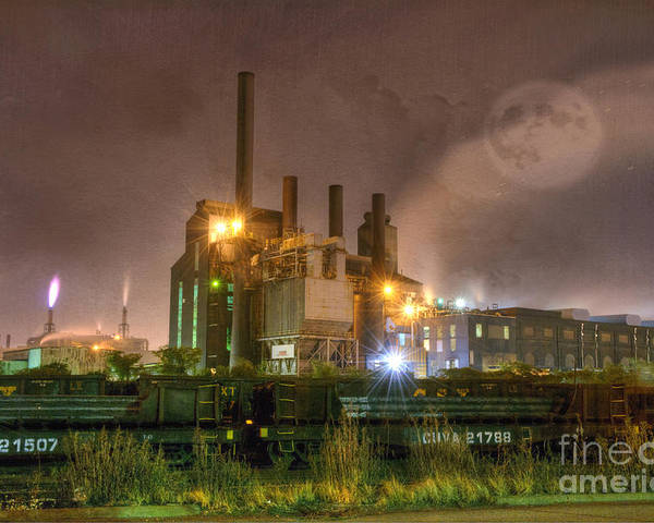 Architecture Poster featuring the photograph Steel Mill At Night by Juli Scalzi