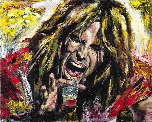 Steven Tyler Poster featuring the painting Steven Tyler by Mark Courage