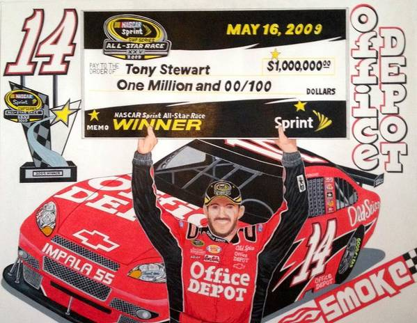 Nascar Art Poster featuring the drawing Stewart All Star Winner by Rodney Sterling