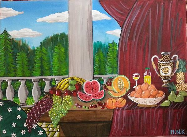 Still Life Poster featuring the painting Still Life Fruits by Mehveen Khan