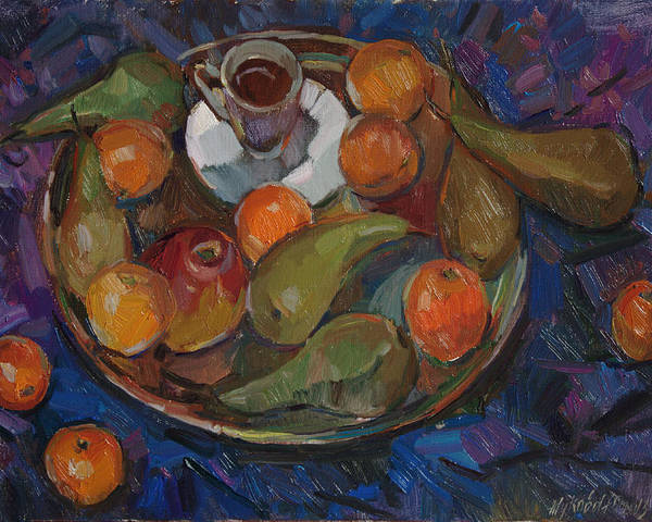 Still Life Poster featuring the painting Still Life On A Tray by Juliya Zhukova
