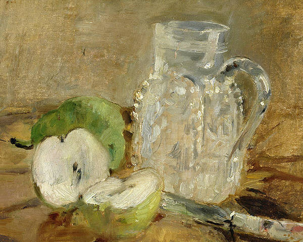 Pomme Coupee Et Pichet; Sliced; Knife; Impressionist; Jug; Table; Nature Morte Poster featuring the painting Still Life With A Cut Apple And A Pitcher by Berthe Morisot
