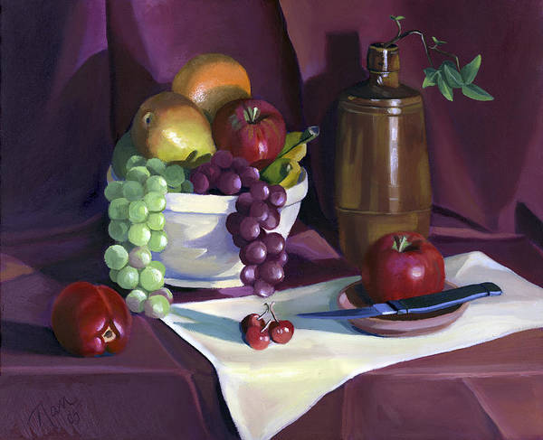 Fine Art Poster featuring the painting Still Life With Apples by Nancy Griswold