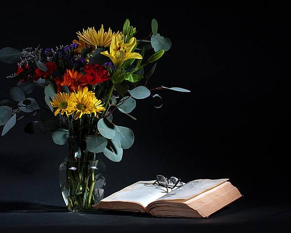 Still Life Poster featuring the photograph Still Life With Flowers by Joe Kozlowski