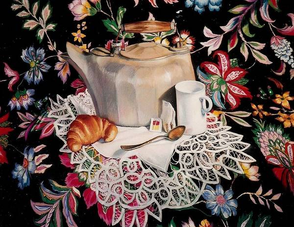 Stillife Poster featuring the pastel Still Life With Lace by Constance Drescher