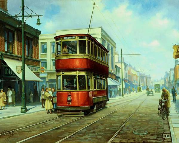 Tram Poster featuring the painting Stockport Tram. by Mike Jeffries