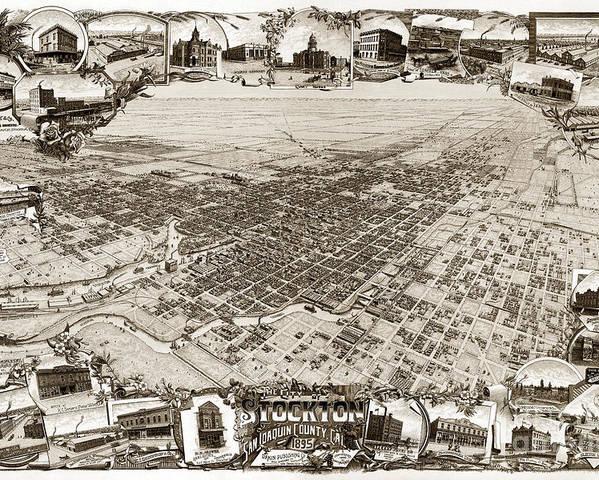 Stockton Poster featuring the photograph Stockton San Joaquin County California 1895 by California Views Mr Pat Hathaway Archives