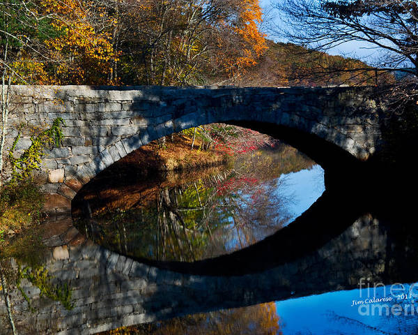 Stone Bridge With Arch Taken In The Fall In New England Poster featuring the photograph Stone Bridge by Jim Calarese