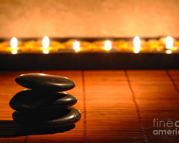 Zen Poster featuring the photograph Stone Cairn And Candles For Quiet Meditation by Olivier Le Queinec