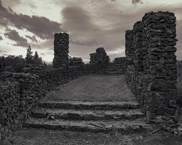 Spokane Poster featuring the photograph Stone Ruins At Old Liberty Park - Spokane Washington by Daniel Hagerman