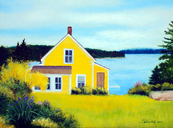 Maine Poster featuring the painting Stonington Summer House by Laura Tasheiko