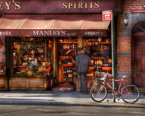 Manley Poster featuring the photograph Store - Wine - Ny - Chelsea - Wines And Spirits Est 1934 by Mike Savad