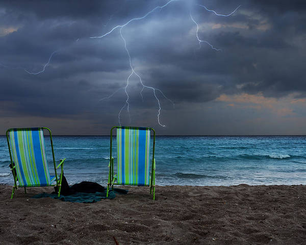 Lightning Poster featuring the photograph Storm Chairs by Laura Fasulo