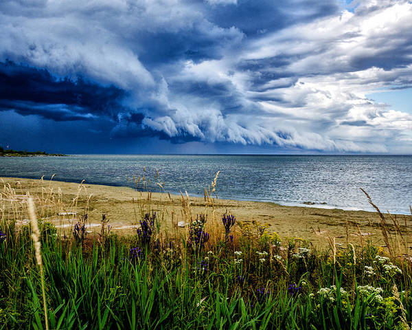 Wisconson 2013 Poster featuring the photograph Storm Clouds In Door County by Ed Fiske