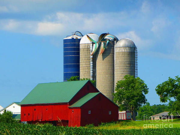 Barn Poster featuring the photograph Storm Damaged Silo Roof by Tina M Wenger