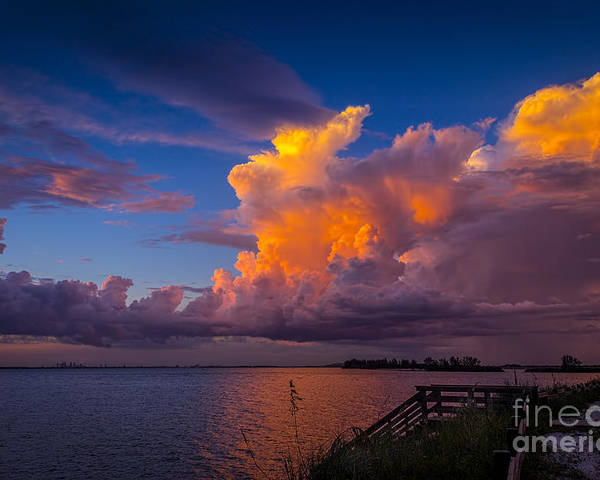 Thunder Storms Poster featuring the photograph Storm On Tampa by Marvin Spates