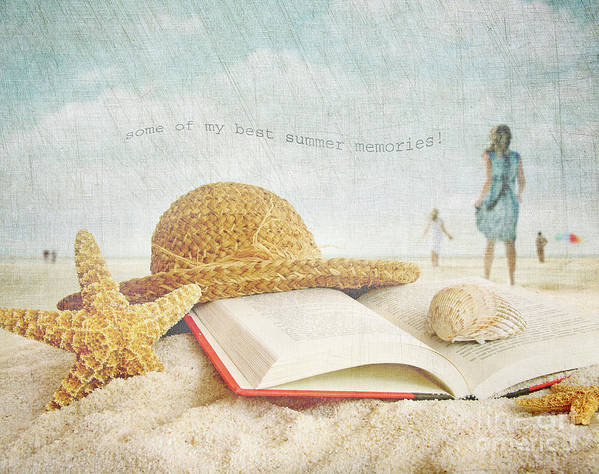 Abstract Poster featuring the photograph Straw Hat And Book In The Sand by Sandra Cunningham