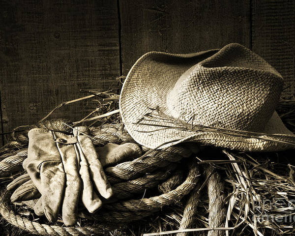 Bale Poster featuring the photograph Straw Hat With Gloves On A Bale Of Hay by Sandra Cunningham