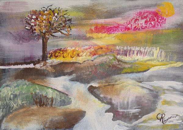 Cold Poster featuring the painting Stream In Early Winter by Christien Rossouw