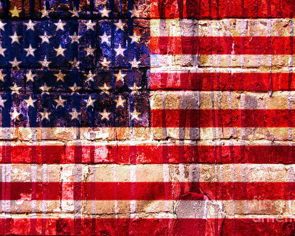 American Flag Poster featuring the digital art Street Star Spangled Banner by Delphimages Photo Creations