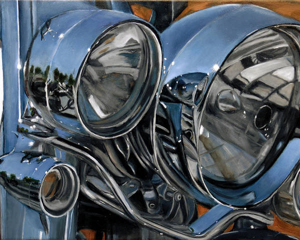 Motorcycle Poster featuring the painting Streetlights by Jack Atkins