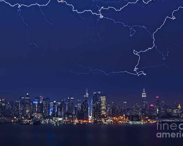 Lightning Poster featuring the photograph Strikes And Bolts In Nyc by Susan Candelario