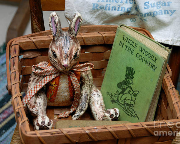 Rabbit Poster featuring the photograph Stuffed Rabbit And Uncle Wiggly Book by Amy Cicconi