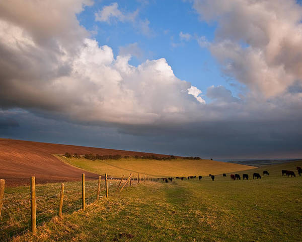 Landscape Poster featuring the photograph Stunning Scene Across Escarpment Countryside Landscape With Bea by Matthew Gibson