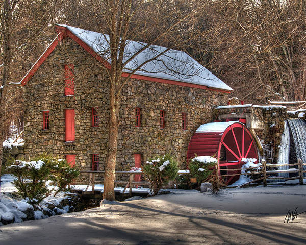 Sudbury Poster featuring the photograph Sudbury Wintery Grist Mill by Mark Valentine