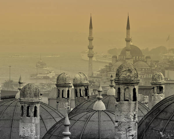 Istanbul Poster featuring the photograph Suleymaniye Mosque And New Mosque In Istanbul by Ayhan Altun