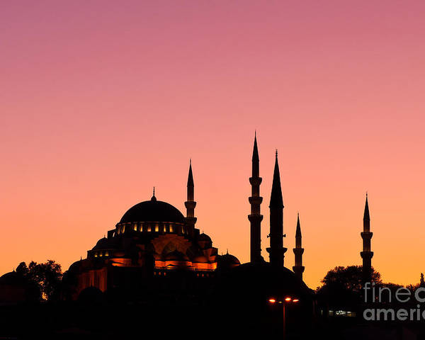 Istanbul Poster featuring the photograph Suleymaniye Sundown 01 by Rick Piper Photography