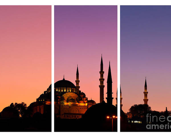 Istanbul Poster featuring the photograph Suleymaniye Sundown Triptych 01 by Rick Piper Photography