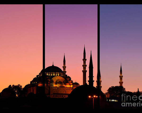 Istanbul Poster featuring the photograph Suleymaniye Sundown Triptych 02 by Rick Piper Photography