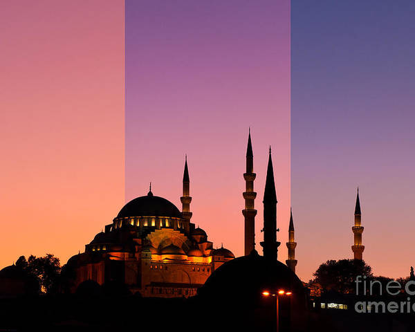 Istanbul Poster featuring the photograph Suleymaniye Sundown Triptych 05 by Rick Piper Photography