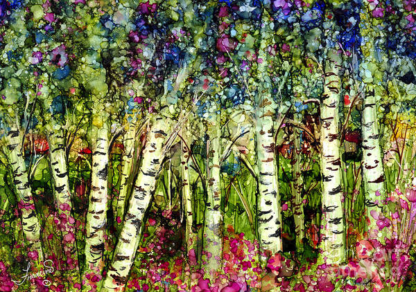 Trees Poster featuring the painting Summer Birch by Francine Dufour Jones