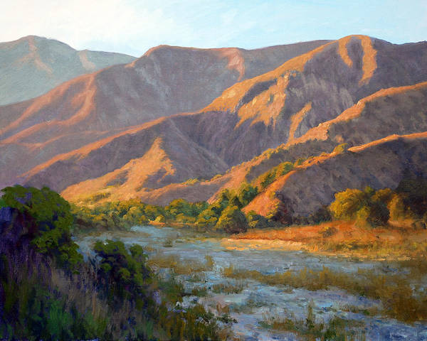 Eaton Canyon Poster featuring the painting Summer Evening Eaton Canyon by Armand Cabrera