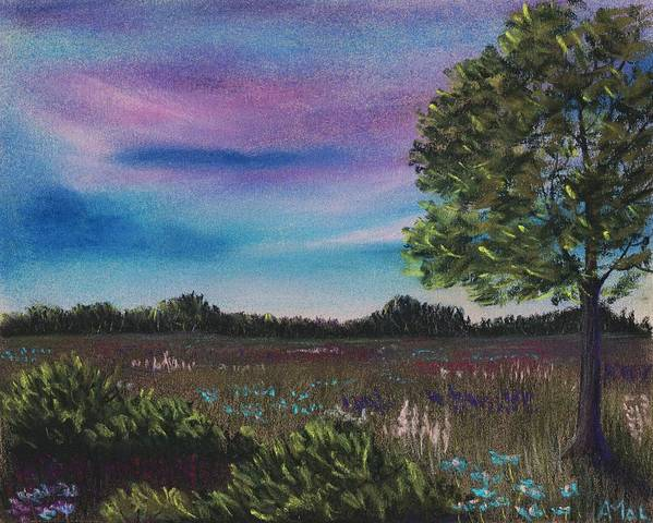 Landscape Poster featuring the painting Summer Meadow by Anastasiya Malakhova